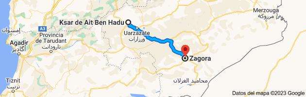 Mapa de Ksar de Ait Ben Hadu, Marruecos a Zagora, Marruecos
