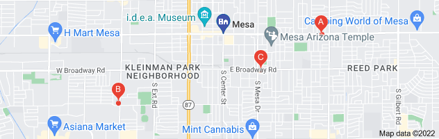 Map of Phoenix Title Loans Mesa
