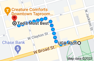 Map from UGA Arch, US-78 BUS, Athens, GA 30602 to Ted's Most Best, 254 W Washington St, Athens, GA 30601