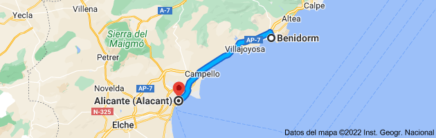 Mapa de Benidorm, Alicante a Alicante (Alacant), Alicante