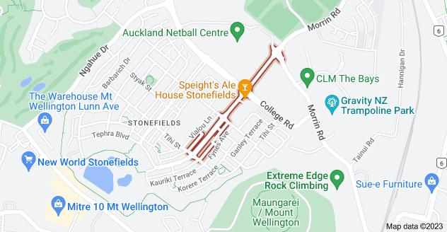 Location of Stonefields Avenue