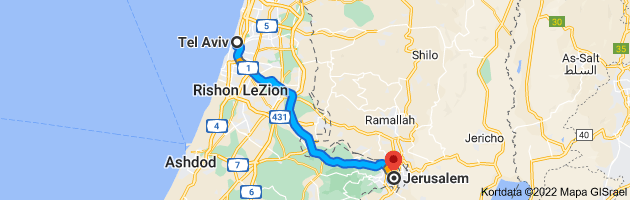 Kort med rute fra Tel Aviv, Israel til Jerusalem, Israel