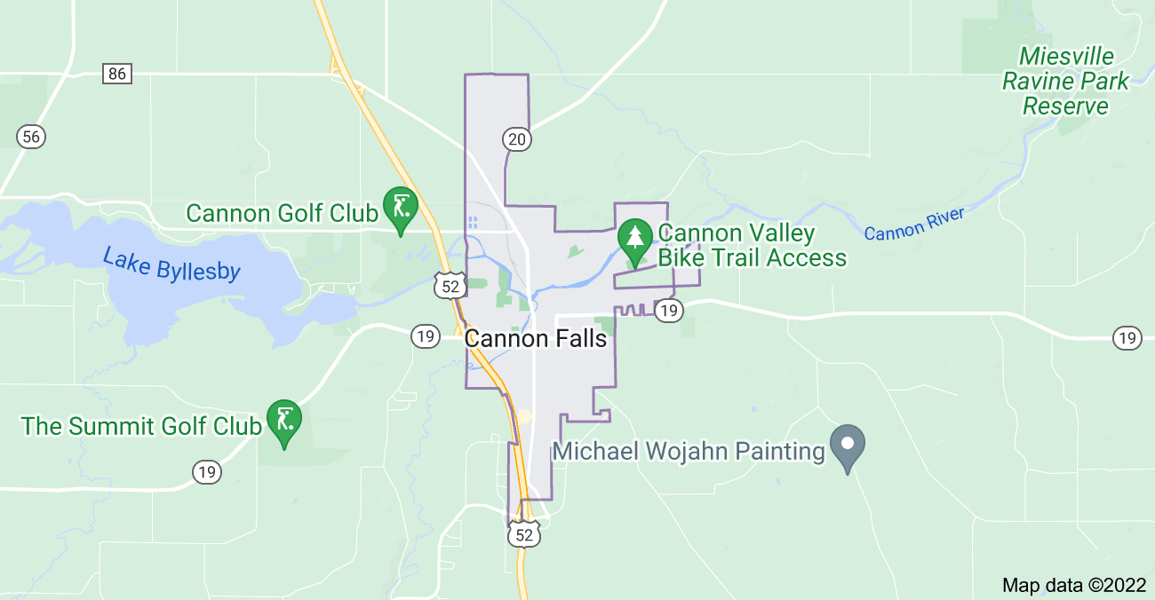 Map of Cannon Falls, MN 55009