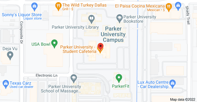 Map of Parker University - South Building, Walnut Hill Ln, Dallas, TX 75229