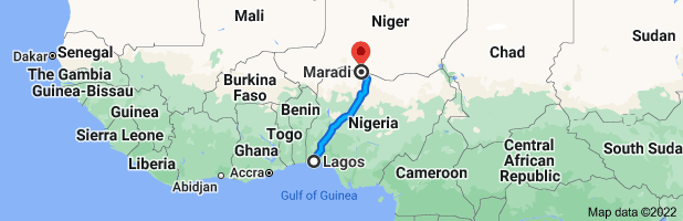Map from Lagos, Nigeria to Maradi, Niger