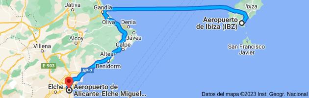 Mapa de Aeropuerto de Ibiza (IBZ), 07818 Sant Jordi de ses Salines, Islas Baleares a Aeropuerto de Alicante-Elche (ALC), 03195 L'Altet, Alicante