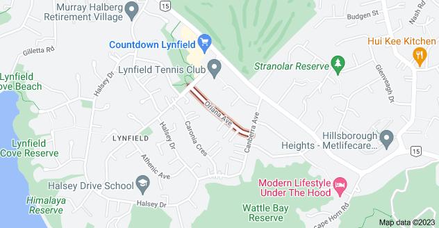 Location of Oriana Avenue
