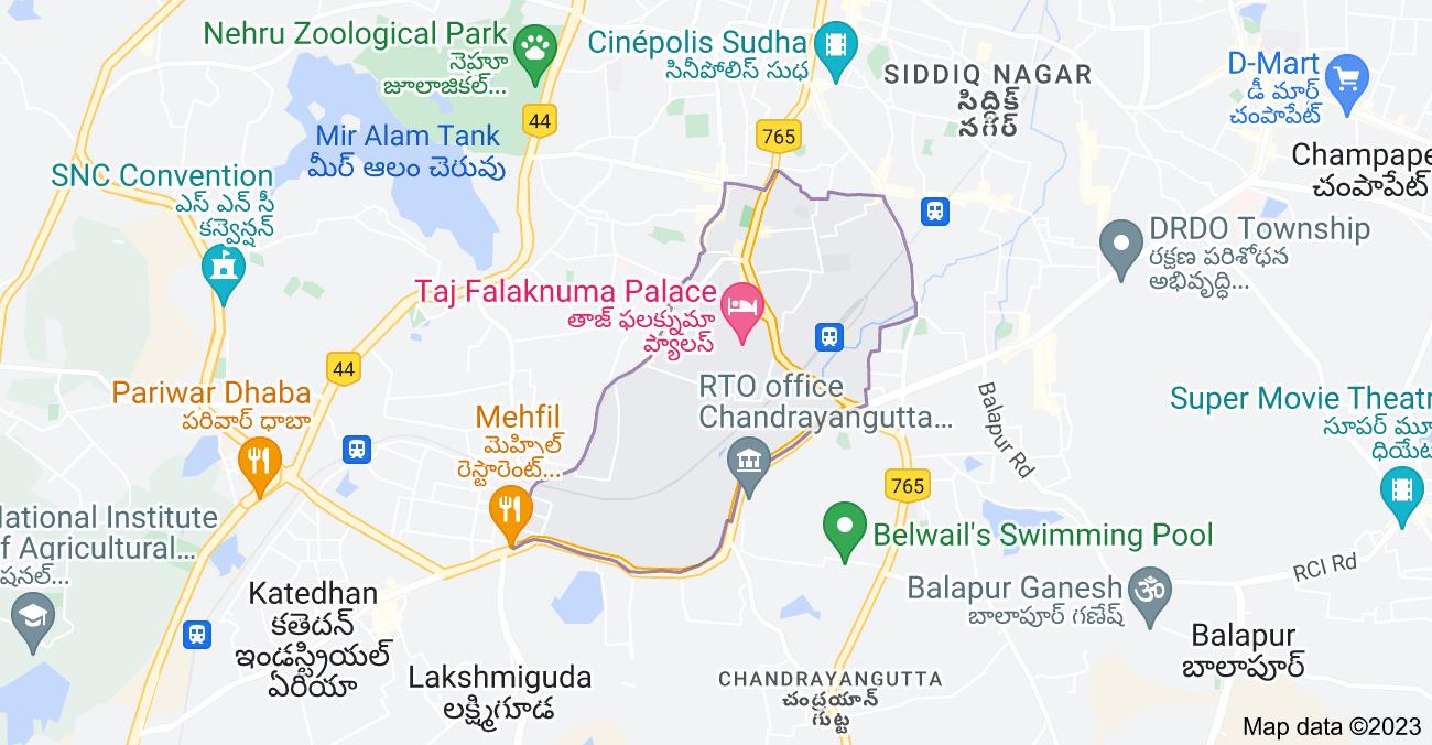 Map of Falaknuma, Hyderabad, Telangana, India