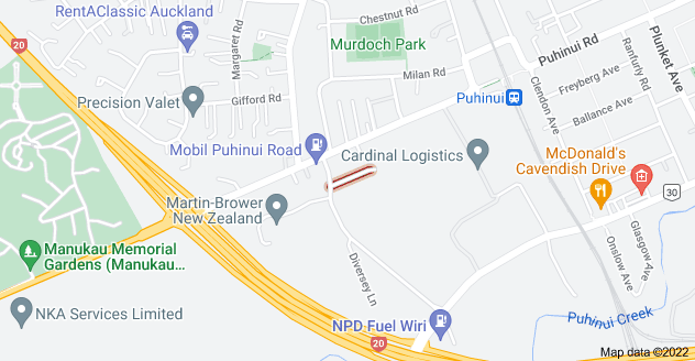Location of Burrell Avenue