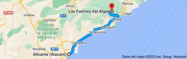 Mapa de Alicante (Alacant), Alicante a Fuentes del Algar, Pda. Algar, s/n, 03510 Callosa d'en Sarrià, Alicante