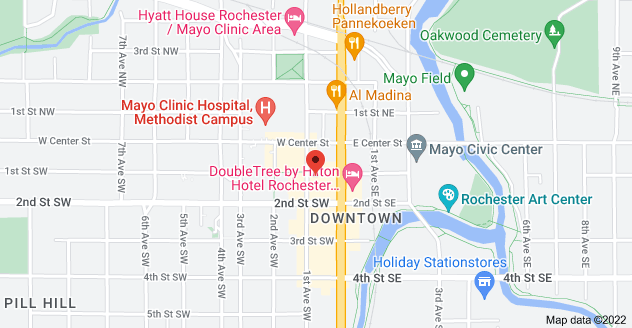Map of 100 1st Ave SW, Rochester, MN 55902, USA