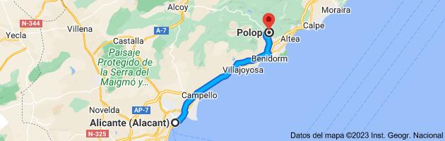Mapa de Alicante (Alacant), Alicante a Polop, 03520, Alicante