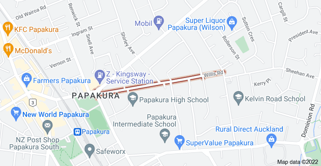Location of Willis Road