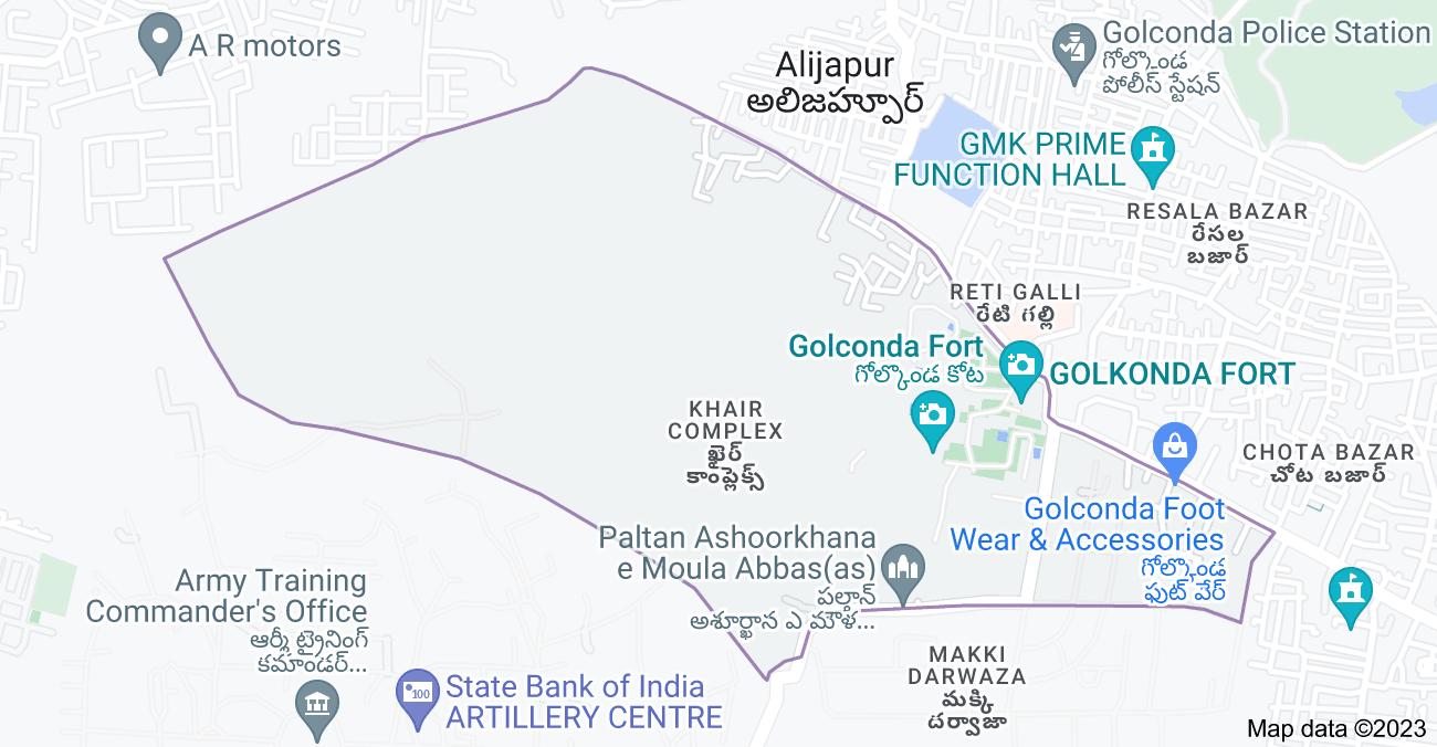 Map of Khair Complex, Golconda Fort, Hyderabad, Telangana, India