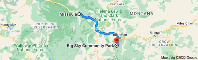 Map from Missoula, Montana to Big Sky Community Park, 1573-1717 Little Coyote Rd, Gallatin Gateway, MT 59730
