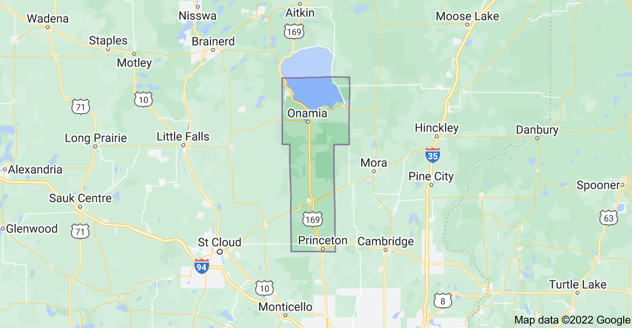 Map of Mille Lacs County, MN