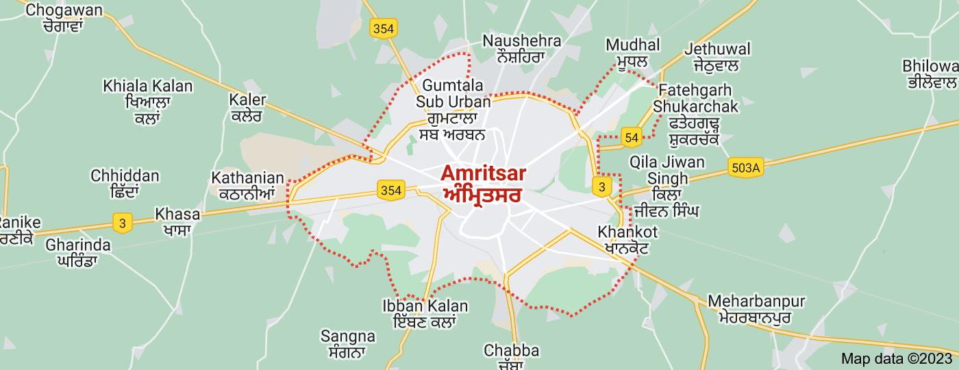 Location of Amritsar