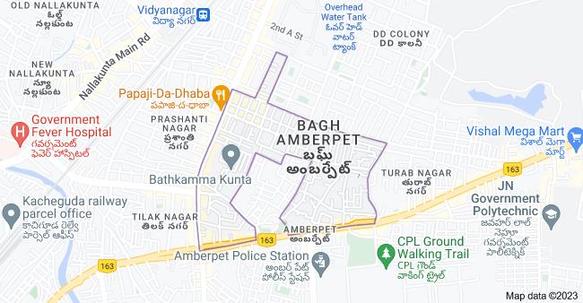 Map of Bagh Amberpet, Amberpet, Hyderabad, Telangana, India