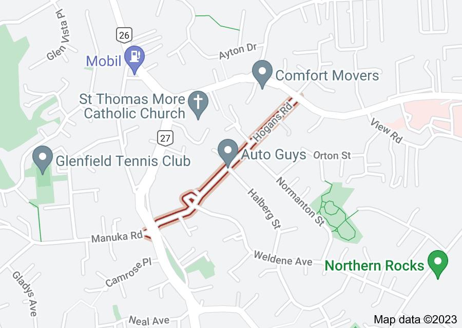 Location of Hogans Road