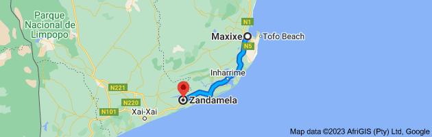 Map from Maxixe to Zandamela