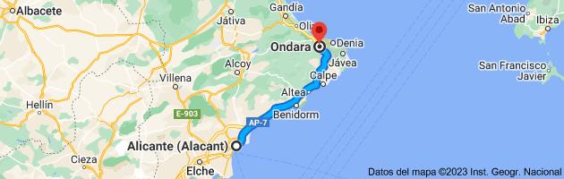 Mapa de Alicante (Alacant), Alicante a Ondara, 03760, Alicante