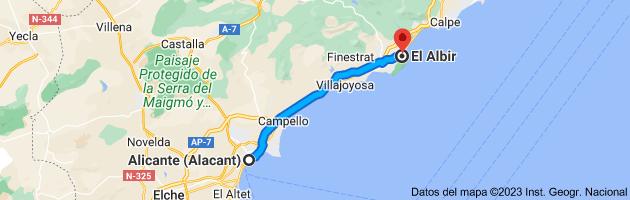 Mapa de Alicante (Alacant), Alicante a El Albir, 03581, Alicante