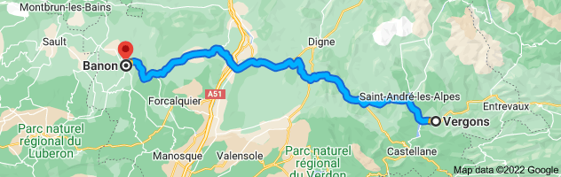 Map from Vergons, 04170, France to Banon, 04150, France