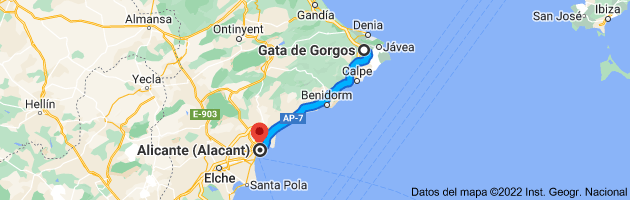 Mapa de Gata de Gorgos, 03740, Alicante a Alicante (Alacant), Alicante