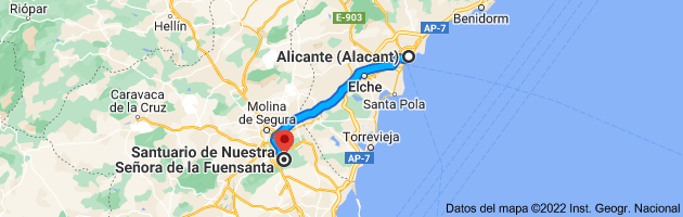 Mapa de Alicante (Alacant), Alicante a Santuario de la Fuensanta, 30157 Algezares, Murcia