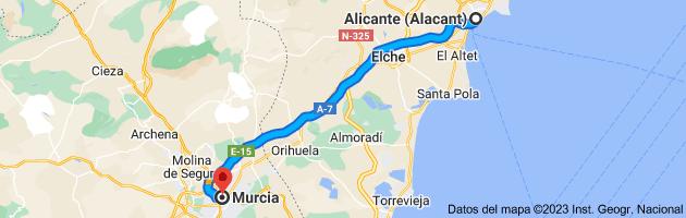 Mapa de Alicante (Alacant), Alicante a Murcia