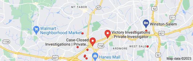 Map of Winston-Salem, NC private investigators
