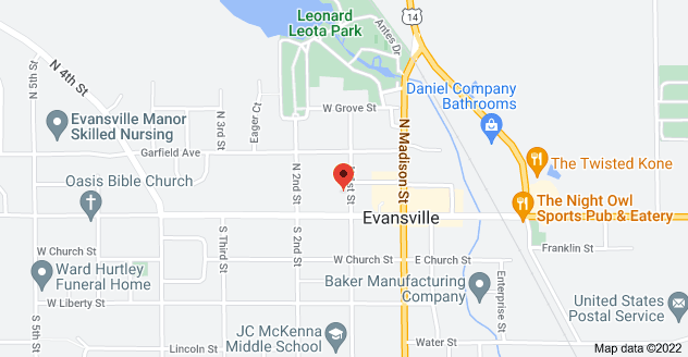 Map of 17 N 1st St, Evansville, WI 53536