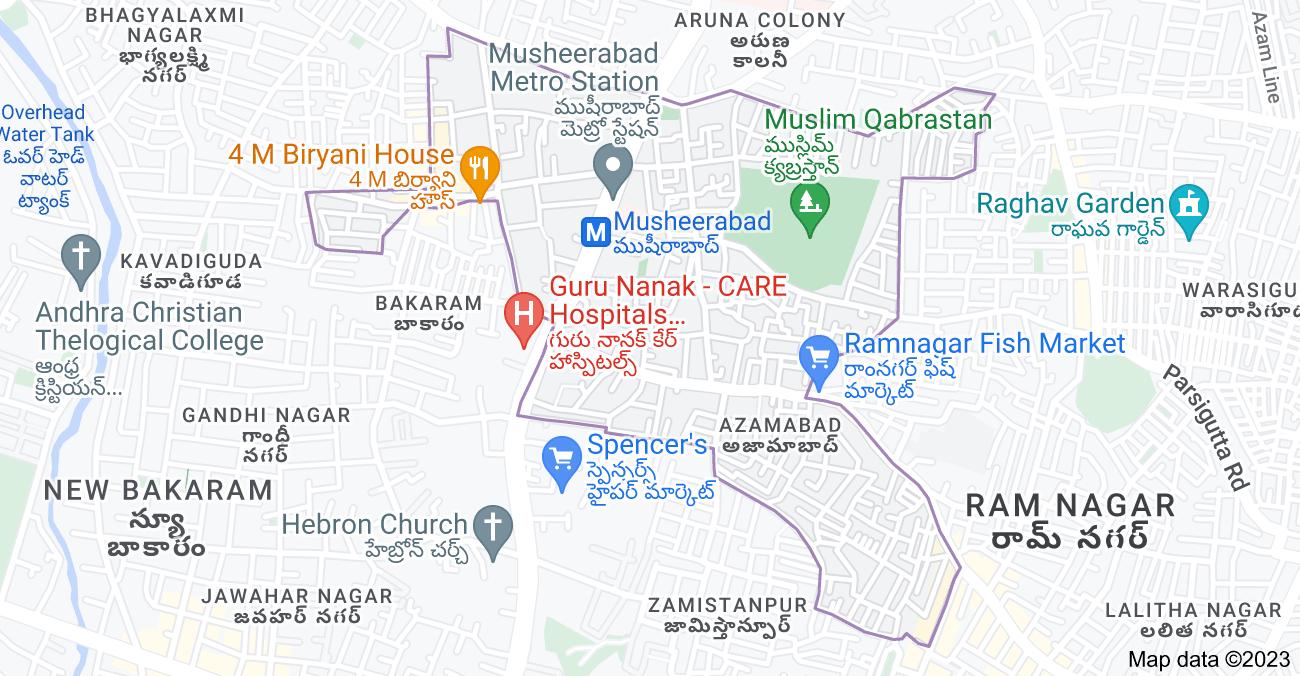 Map of Musheerabad, Zamistanpur, Hyderabad, Telangana, India
