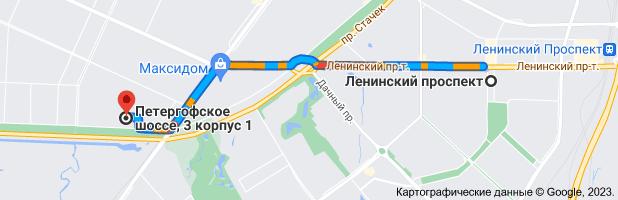 Карта маршрута: Ленинский проспект, Санкт-Петербург, 198216– Петергофское ш., 3 корпус 1, Санкт-Петербург, 198330