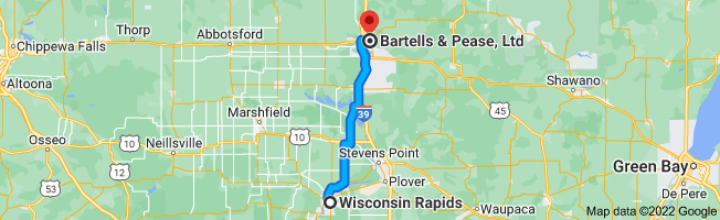 Map from Wisconsin Rapids, Wisconsin to Bartells & Pease, Ltd, 613 Forest St, Wausau, WI 54403