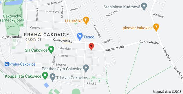 Mapa oblasti Ostravická 896/32, 196 00 Praha-Čakovice