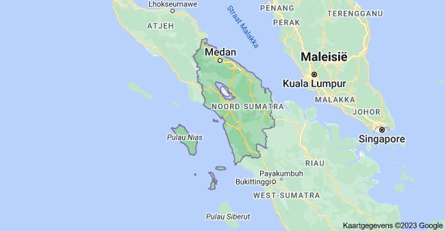 Kaart van Noord-Sumatra Indonesi