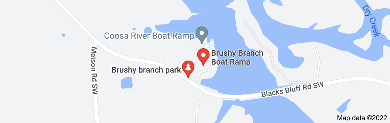 Map of blacks bluff road at brushy branch boat ramp