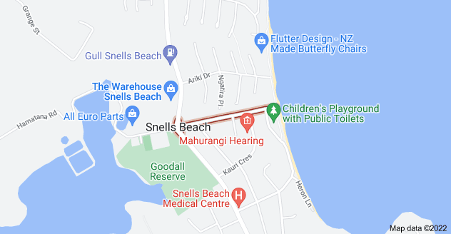 Location of Snells Beach Road
