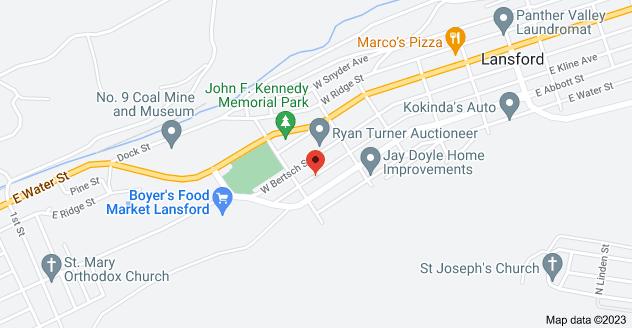 Map of 352 W Kline Ave, Lansford, PA 18232