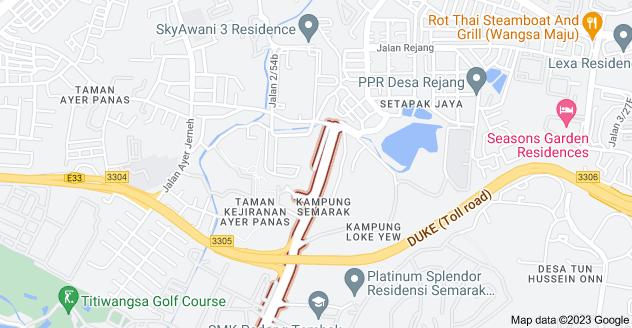 Map of Jalan Semarak, Kampung Semarak, 54100 Kuala Lumpur, Wilayah Persekutuan Kuala Lumpur