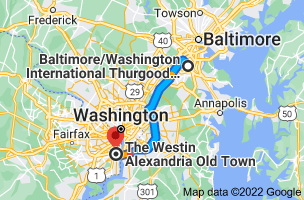 Map from Baltimore/Washington International Thurgood Marshall Airport (BWI), Baltimore, MD 21240 to The Westin Alexandria, 400 Courthouse Square, Alexandria, VA 22314