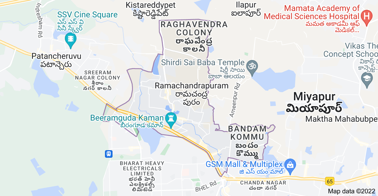 Map of Ramachandrapuram, Telangana, India