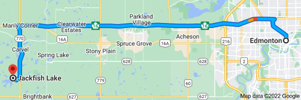 Map from Edmonton, Alberta to Jack Fish Lake, Parkland County, AB T0E 0H0