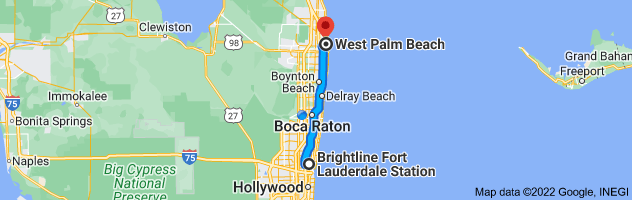 Map from Fort Lauderdale Brightline Station, NW 2nd Ave, Fort Lauderdale, FL 33388 to West Palm Beach, Florida