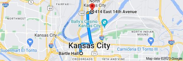 Map from Bartle Hall, 301 W 13th St, Kansas City, MO 64105 to 414 E 14th Ave, North Kansas City, MO 64116