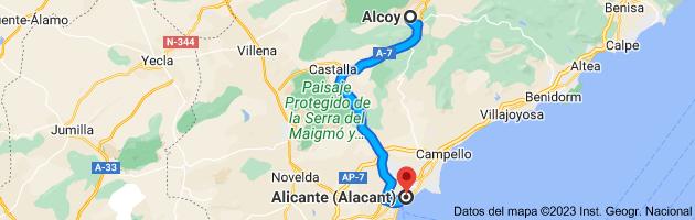 Mapa de Alcoy, Alicante a Alicante