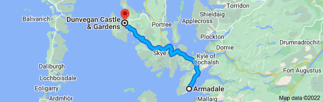 Map from Armadale, Isle of Skye IV45 8RQ, UK to Dunvegan Castle & Gardens, MacLeod Estate, Dunvegan House, Dunvegan, Isle of Skye IV55 8WF, United Kingdom