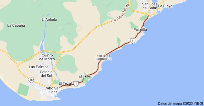 Mapa de Cabo San Lucas-San José del Cabo, Baja California Sur