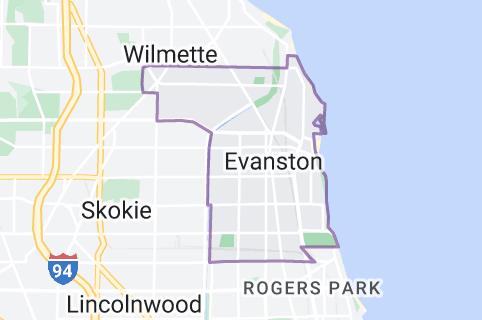Map of Evanston, Illinois